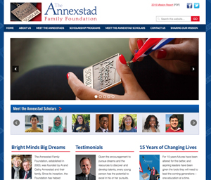 Annexstad Family Foundation website screenshot
