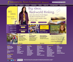 Minnesota State University Mankato website screenshot